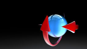 Ball with arrows   in 3D illustration Royalty Free Stock Image
