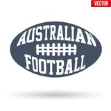 Ball of Australian rules football with typography. Sports symbol ball of Australian rules football with typography. Vector Illustration isolated on white stock illustration