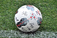 The ball with autographs Stock Image
