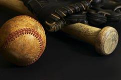 Ball background. Baseball macro scene on black Stock Image