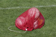 Ball Bag Red. A red ball bag on green grass Royalty Free Stock Image