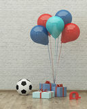 Ball, balloons and presents for boy 3d. Ball ,colorful balloons and presents for boy party on the background of brick wall, 3d render Stock Image