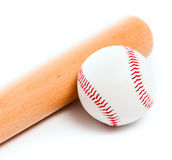 Ball and baseball bat Stock Images