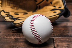 Ball baseball with glove Royalty Free Stock Photo