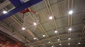 Ball in the Basket. Successful throw in basketball basket stock video