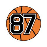 Ball of basketball with the number 87 Royalty Free Stock Images