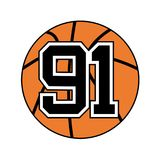 Ball of basketball with the number 91. Creative design of ball of basketball with the number 91 Stock Photo