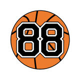 Ball of basketball with the number 88. Design of ball of the basketball with the number 88 Royalty Free Stock Photos