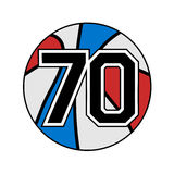 Ball of basketball symbol with number 70 Stock Images