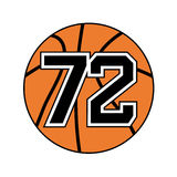 Ball of basketball symbol with number 72. Creative design of ball of basketball symbol with number 72 Stock Illustration
