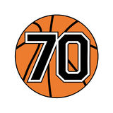 Ball of basketball symbol with number 70. Creative design of ball of basketball symbol with number 70 Stock Photo