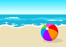 Ball at the beach. Colourful plastic ball at the beach Stock Image