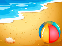 A ball at the beach. Illustration of a ball at the beach Stock Images