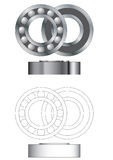 Ball bearing assembly vector. Open closed and side view stock illustration