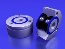 Ball bearing on a blue. Ball bearing lays on a blue background 3D model Vector Illustration