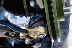 Ball bearing car suspension. Ball bearing and a portion of the brake disc car suspension Royalty Free Stock Photo