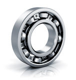 Ball bearing. Creative abstract mechanics, industrial machinery and manufacturing industry concept: steel shiny ball bearing isolated on white background with stock illustration