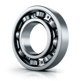 Ball bearing. Creative abstract mechanics, industrial machinery and manufacturing industry concept: steel shiny ball bearing isolated on white background with vector illustration