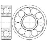 Ball bearing. Design element of a mechanical bearing. Vector line icon template.You can use in energy, power, machine, transportation Royalty Free Stock Photography
