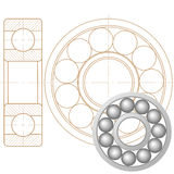 Ball bearing. Design element of a mechanical bearing. Vector line icon template.You can use in energy, power, machine, transportation Royalty Free Stock Photo