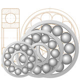 Ball bearing. Design element of a mechanical bearing. Vector line icon template.You can use in energy, power, machine, transportation Royalty Free Stock Photos