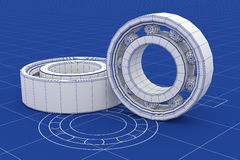 Ball Bearing  mesh over a blueprint background Stock Photo