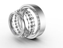 Ball bearing parts. On white background. 3d render Royalty Free Stock Photos