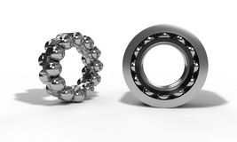 Ball bearing parts on the white, 3d render Stock Photography