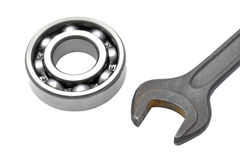 Ball bearing and Wrench Stock Image