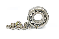 Ball bearings.#2. Bearings of different sizes on a white background stock images