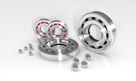 Ball bearings. Industrial image with ball bearings on white background stock photo