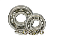 Ball bearings.#3. Bearings of different sizes on a white background royalty free stock photography