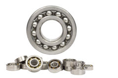 Ball bearings.#5. Bearings of different sizes on a white background stock photography