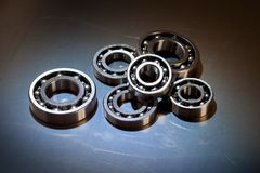 Ball-bearings. On a polished steel surface royalty free stock image