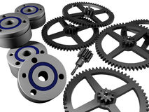 Ball bearings and cog-wheels. Solid of revolution, ball bearing, cog-wheel 3D model Royalty Free Stock Image