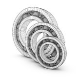 Ball bearings in a cut. View of ball bearings structures in a cut. 3D render Stock Images
