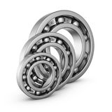 Ball bearings in a cut. View of a ball bearings in a cut. 3D render Stock Image