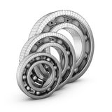 Ball bearings in a cut. View of ball bearings structures in a cut. 3D render Stock Image