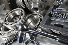 Ball-bearings and gear with a spanner set Stock Photography