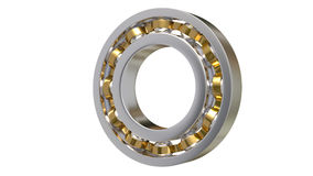 Ball bearings isolated on white background 3D. Ball bearings with brass part isolated on white background 3D Royalty Free Stock Image