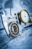 Ball bearings and Metal vernier caliper Royalty Free Stock Images