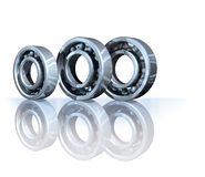 Ball bearings on reflective background Stock Photo