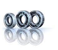 Ball bearings on reflective background Stock Photo