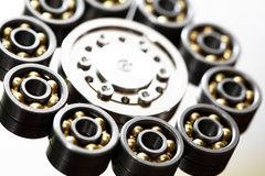 Ball Bearings Round. Industrial concept. Abstract ring made from lot of ball bearings stock image