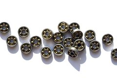 Ball Bearings Set. Industrial concept. Lot of ball bearings on white background royalty free stock photography