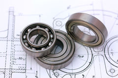 Ball bearings on technical drawing royalty free stock image