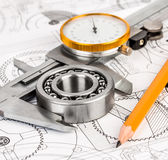 Ball bearings on technical drawing Royalty Free Stock Photography