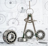 Ball bearings on technical drawing. Technical drawings with the Ball bearings stock image