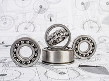 Ball bearings on technical drawing. Technical drawings with the Ball bearings stock images