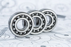 Ball bearings on technical drawing Stock Photo
